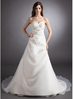 Ball-Gown Sweetheart Court Train Organza Satin Wedding Dress With Ruffle Lace Beading (002000428)