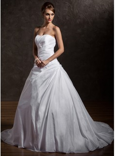Ball-Gown Sweetheart Chapel Train Taffeta Wedding Dress With Ruffle Beading Appliques Lace Sequins (002012901)