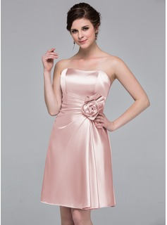 Sheath/Column Sweetheart Knee-Length Charmeuse Bridesmaid Dress With Flower(s) (007037227)