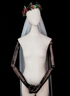 Uno strato Bordo tagliato Velare da sposa gomito (006183263)