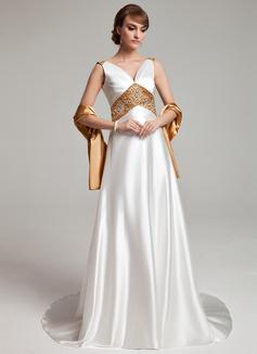A-Linie/Princess-Linie V-Ausschnitt Sweep/Pinsel zug Charmeuse Kleid für die Brautmutter mit Schleifenbänder/Stoffgürtel Perlstickerei (008003201)