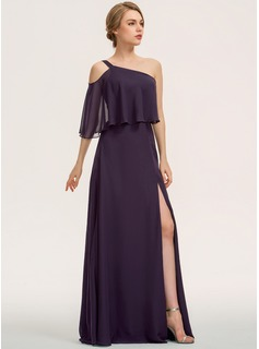 A-Line One-Shoulder Floor-Length Chiffon Bridesmaid Dress With Split Front Cascading Ruffles (007190673)