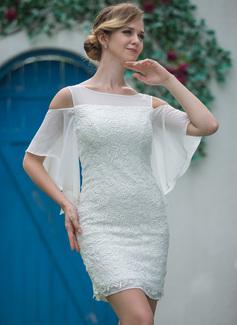 Forme Fourreau Epaules nues Court/Mini Mousseline Dentelle Robe de mariée avec Robe à volants (002050394)