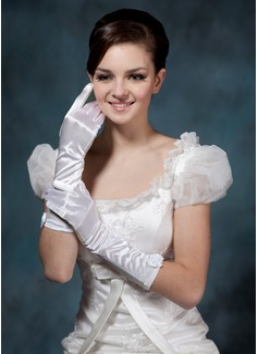 Satén elástico Codo Largo Guantes de novia (014020503)