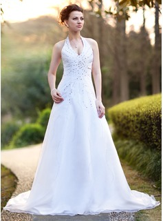 A-Line/Princess Halter Chapel Train Satin Organza Wedding Dress With Beading Sequins (002000386)