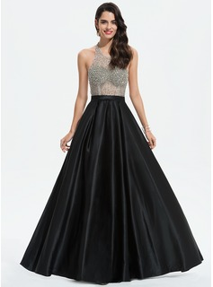 A-Line Scoop Neck Floor-Length Satin Prom Dresses With Beading (018187039)
