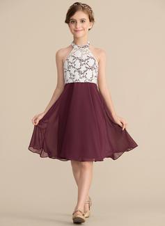 A-Linie/Princess-Linie U-Ausschnitt Knielang Chiffon Spitze Kleid für junge Brautjungfern (009165014)
