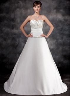 A-Line/Princess Sweetheart Chapel Train Charmeuse Wedding Dress With Ruffle Beading (002016936)