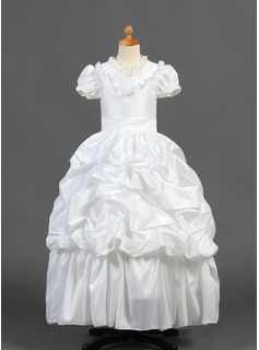 A-Line/Princess Floor-length Flower Girl Dress - Taffeta Short Sleeves V-neck With Ruffles/Lace/Pick Up Skirt (010015770)