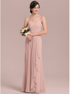 A-Line/Princess Sweetheart Floor-Length Chiffon Prom Dresses With Cascading Ruffles (018144959)