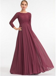 A-Line Scoop Neck Floor-Length Chiffon Evening Dress With Pleated (017198663)