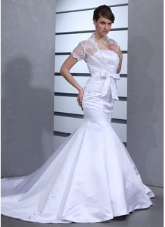 Trumpet/Mermaid Strapless Chapel Train Satin Wedding Dress With Bow(s) (002012701)