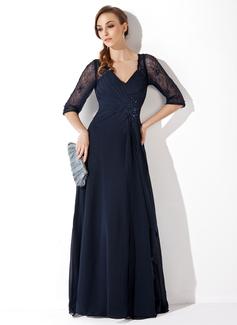 A-Linie/Princess-Linie V-Ausschnitt Bodenlang Chiffon Lace Kleid für die Brautmutter mit Rüschen Perlstickerei Pailletten (008005969)
