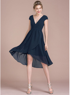 A-Line/Princess V-neck Asymmetrical Chiffon Cocktail Dress (016116507)