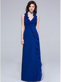 Sheath/Column Halter Floor-Length Chiffon Evening Dress With Ruffle Bow(s) Cascading Ruffles (007037261)