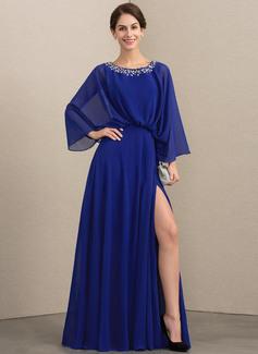 A-Linie U-Ausschnitt Bodenlang Chiffon Kleid für die Brautmutter mit Perlstickerei Schlitz Vorn (008164070)