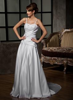 Forme Princesse Bustier en coeur Traîne mi-longue Satiné Robe de mariée avec Plissé Dentelle Emperler (002011776)