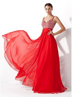 A-Line/Princess V-neck Floor-Length Chiffon Prom Dresses With Ruffle Beading Sequins (018005105)