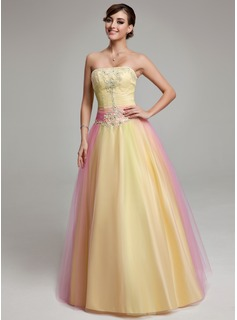 Ball-Gown Strapless Floor-Length Tulle Quinceanera Dress With Ruffle Beading Appliques Lace (021004702)