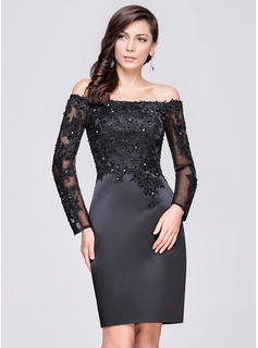 Sheath/Column Off-the-Shoulder Knee-Length Satin Cocktail Dress With Beading Appliques Lace Sequins (016064184)