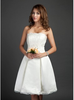 A-Line/Princess Strapless Knee-Length Satin Wedding Dress With Ruffle (020036584)