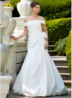 Trumpet/Mermaid Off-the-Shoulder Court Train Taffeta Wedding Dress With Ruffle Flower(s) (002024573)