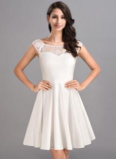 Forme Princesse Col rond Court/Mini Jersey Robe de soirée étudiante (022053553)