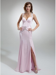 Sheath Sweetheart Court Train Charmeuse Evening Dress With Beading (017016358)