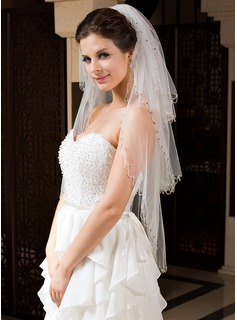 Three-tier Fingertip Bridal Veils With Sequin Trim Edge (006034326)