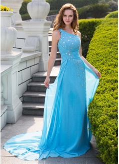 Forme Princesse Encolure asymétrique Traîne moyenne Mousseline Robe bal d'étudiant avec Plissé Emperler (018024653)