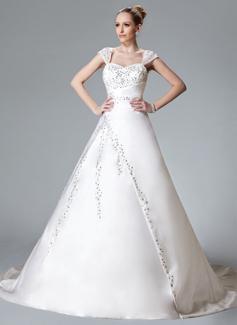 Forme Marquise Bustier en coeur Traîne mi-longue Satiné Robe de mariée avec Broderie Emperler (002000558)