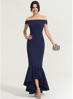 Trumpet/Mermaid Off-the-Shoulder Asymmetrical Stretch Crepe Evening Dress (017167690)