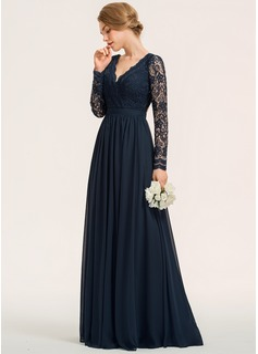A-Line V-neck Floor-Length Chiffon Lace Bridesmaid Dress (007190715)