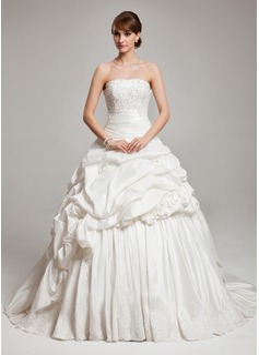 Ball-Gown Strapless Chapel Train Taffeta Wedding Dress With Ruffle Lace Beading (002017561)
