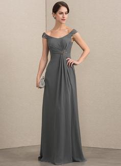 A-Linie/Princess-Linie Off-the-Schulter Bodenlang Chiffon Kleid für die Brautmutter mit Perlstickerei Pailletten (008164063)