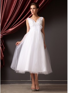 Robe de Marie Ligne-A/Princesse Col V Longeur  mi jambe Organza Tulle Robe de Marie avec Dentelle Fleurs (002014240)