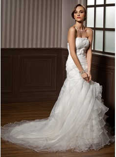 A-Line/Princess Sweetheart Chapel Train Organza Satin Wedding Dress With Lace Cascading Ruffles (002004533)