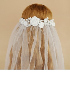 One-tier Cut Edge Elbow Bridal Veils With Satin Flower/Faux Pearl (006190609)