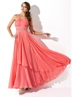 A-Line/Princess V-neck Floor-Length Chiffon Prom Dress With Ruffle Beading Sequins (018004805)