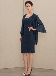 Etui-Linie Rechteckiger Ausschnitt Knielang Spitze Kleid für die Brautmutter mit Pailletten (008179193)