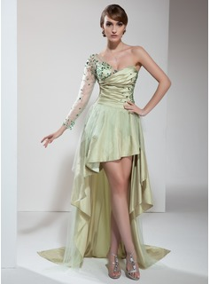 A-Line/Princess One-Shoulder Asymmetrical Taffeta Tulle Prom Dress With Ruffle Beading (018021099)