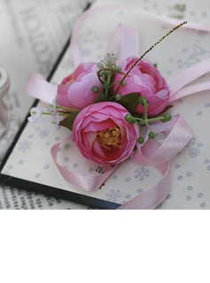 Lovely Free-Form Satin/Cotton Wrist Corsage/Pin-on Corsage (124032025)