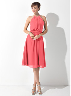 A-Line/Princess Halter Knee-Length Chiffon Bridesmaid Dress With Ruffle Bow(s) (007063021)