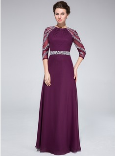 A-Line/Princess Scoop Neck Floor-Length Chiffon Mother of the Bride Dress With Ruffle Beading (008025372)