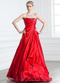 A-Linie/Princess-Linie Trägerlos Bodenlang Taft Quinceañera Kleid (Kleid für die Geburtstagsfeier) mit Rüschen Perlen verziert (021005238)