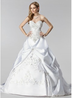 Ball-Gown Sweetheart Chapel Train Satin Wedding Dress With Embroidered Ruffle Beading (002000485)