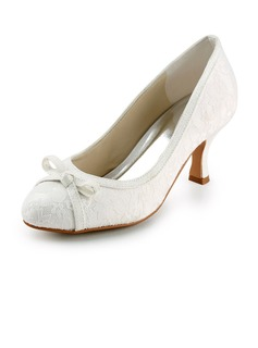 Women's Lace Satin Spool Heel Closed Toe Pumps With Bowknot (047005740)