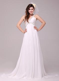 Empire V-neck Court Train Chiffon Wedding Dress With Ruffle Beading (002014031)