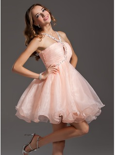 Sweet Sixteen Dresses Empire V-neck Short/Mini Organza Homecoming Dress With Ruffle Beading Sequins (022011155)