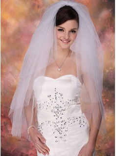 Four-tier Fingertip Bridal Veils With Cut Edge (006003947)